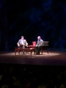 """Author Michael Lewis discusses his new book """"Flash Boys: A Wall Street Revolt"""" with Andrew Sullivan, founder of """"The Dish."""" Credit: Alex Nowakowski"""