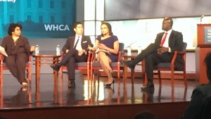 The White House Correspondents Association led a panel in the School of Media and Public Affairs' Jack Morton Auditorium April 28 about diversity in the White House Press Corps.  Photo Credit: Talia Gurevich/WRGW News