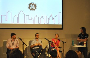 Panelists Ben Haynes, Matias Corea, Jessi Arrington and moderator John McKinney of Ashe Avenue.  Photo: Helen Jiang/WRGW News