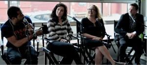 Panelists at Kinfolk Studios: Just Blaze, Syd Cohen, Erika Elliott and moderator Jesse Kirshbaum.  Photo: Helen Jiang/WRGW News